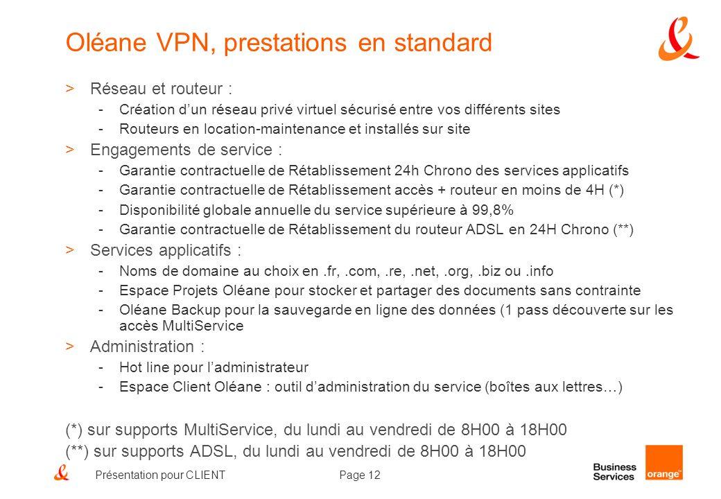 Page 12Présentation pour CLIENT Oléane VPN, prestations en standard >Réseau et routeur : -Création dun réseau privé virtuel sécurisé entre vos différe