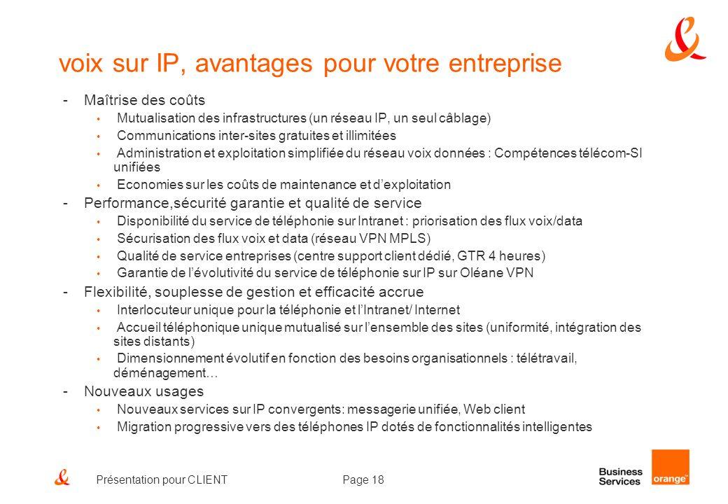Page 18Présentation pour CLIENT voix sur IP, avantages pour votre entreprise -Maîtrise des coûts Mutualisation des infrastructures (un réseau IP, un s