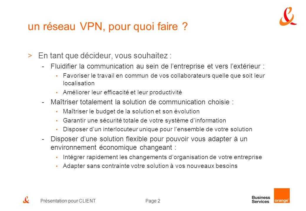 Page 3Présentation pour CLIENT Oléane VPN, un réseau IP unique pour fédérer tous vos flux de communication >Une solution de convergence voix/données/images clé-en-main pour créer un réseau privé virtuel IP entre vos différents sites et accéder à lInternet en toute sécurité.