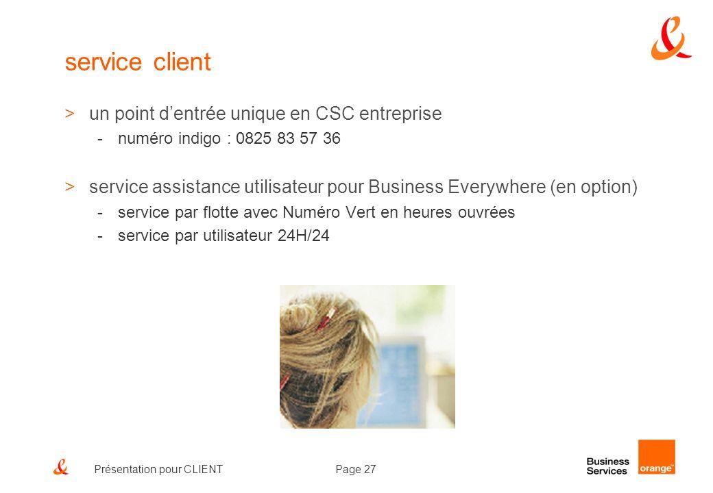 Page 27Présentation pour CLIENT service client >un point dentrée unique en CSC entreprise -numéro indigo : 0825 83 57 36 >service assistance utilisate