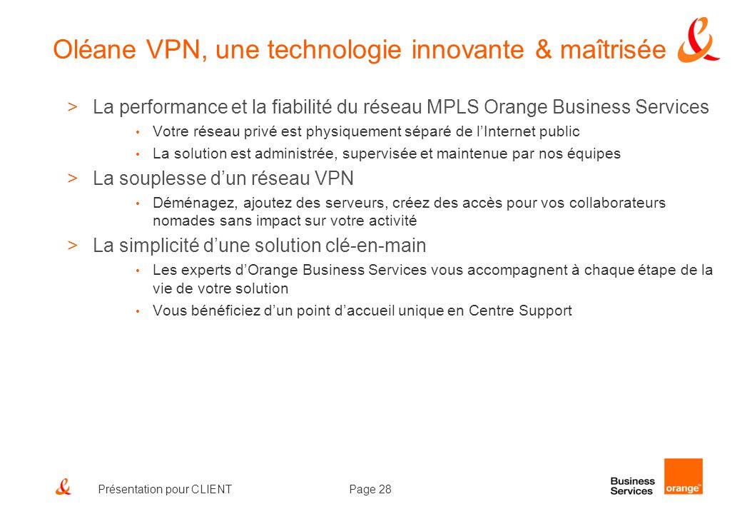 Page 28Présentation pour CLIENT Oléane VPN, une technologie innovante & maîtrisée >La performance et la fiabilité du réseau MPLS Orange Business Servi
