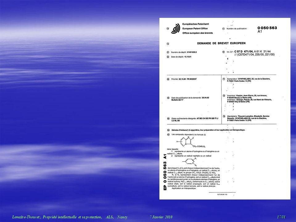 17/31 Lemaître-Thouret:, Propriété intellectuelle et sa protection, ALS, Nancy 7 Janvier 2010