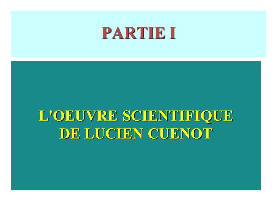 PARTIE I L OEUVRE SCIENTIFIQUE DE LUCIEN CUENOT