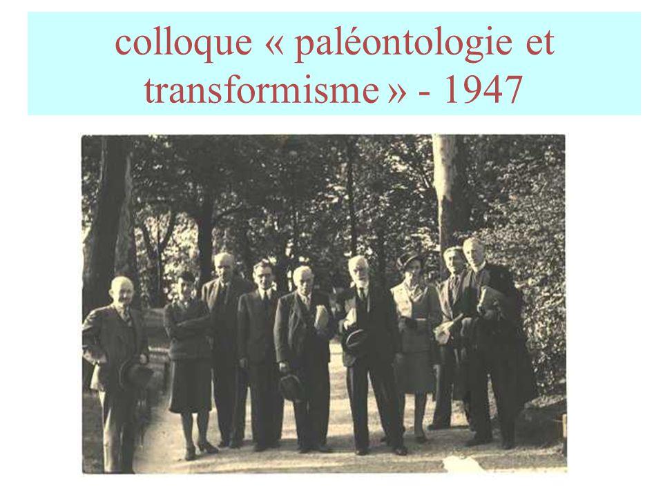 colloque « paléontologie et transformisme » - 1947