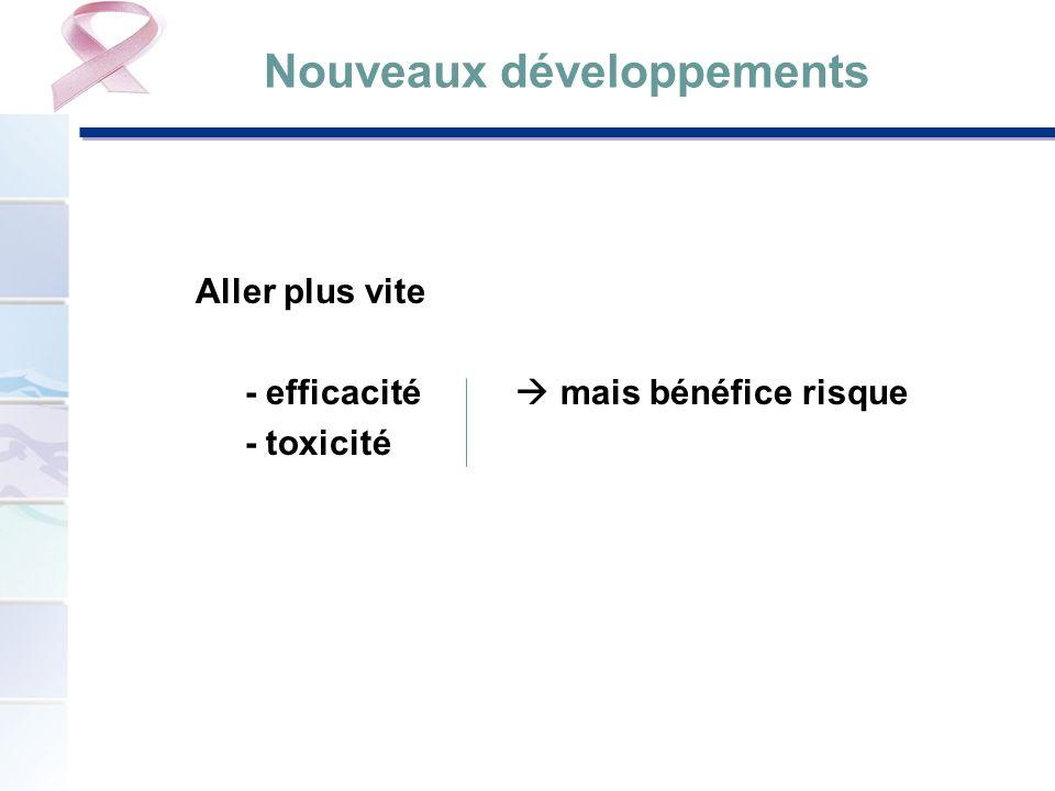 Nouveaux développements Aller plus vite - efficacité mais bénéfice risque - toxicité