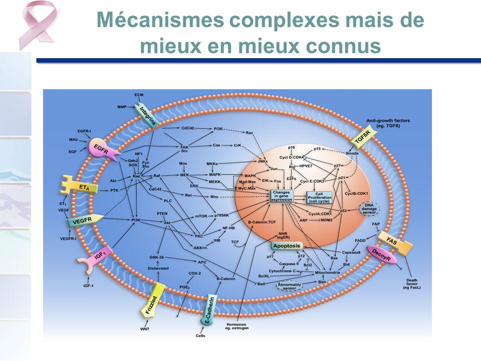 Mécanismes Bloquer la croissance des cellules cancéreuses Affamer la tumeur en détournant le système sanguin Diriger les réactions immunitaires de lorganisme contre les cellules cancéreuses Commander la mort de la cellule : stimuler un phénomène normal (apoptose : mort naturelle des cellules) Reprogrammer une cellule cancéreuse pour la rendre bénigne (exemples en hématologie)