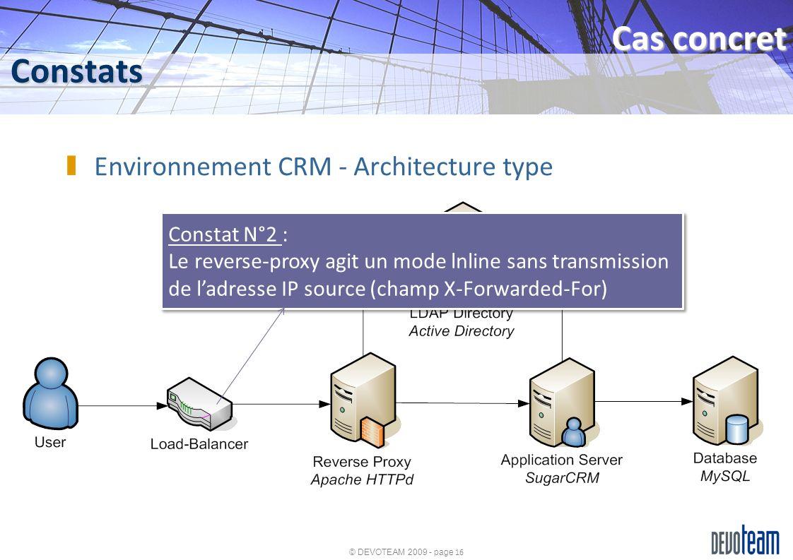 © DEVOTEAM 2009 - page 16 Constats Cas concret Environnement CRM - Architecture type Constat N°2 : Le reverse-proxy agit un mode lnline sans transmiss