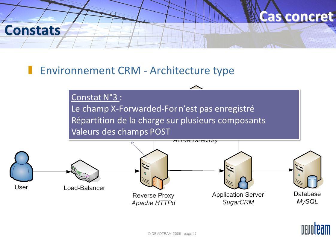 © DEVOTEAM 2009 - page 17 Constats Cas concret Environnement CRM - Architecture type Constat N°3 : Le champ X-Forwarded-For nest pas enregistré Répart