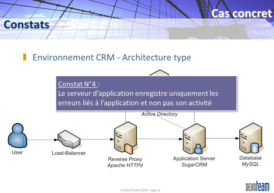 © DEVOTEAM 2009 - page 18 Constats Cas concret Environnement CRM - Architecture type Constat N°4 : Le serveur dapplication enregistre uniquement les e