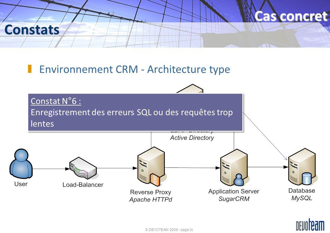 © DEVOTEAM 2009 - page 20 Constats Cas concret Environnement CRM - Architecture type Constat N°6 : Enregistrement des erreurs SQL ou des requêtes trop