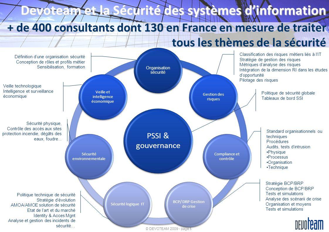 © DEVOTEAM 2009 - page 5 PSSI & gouvernance Organisation sécurité Gestion des risques Compliance et contrôle BCP/ DRP Gestion de crise Sécurité logiqu