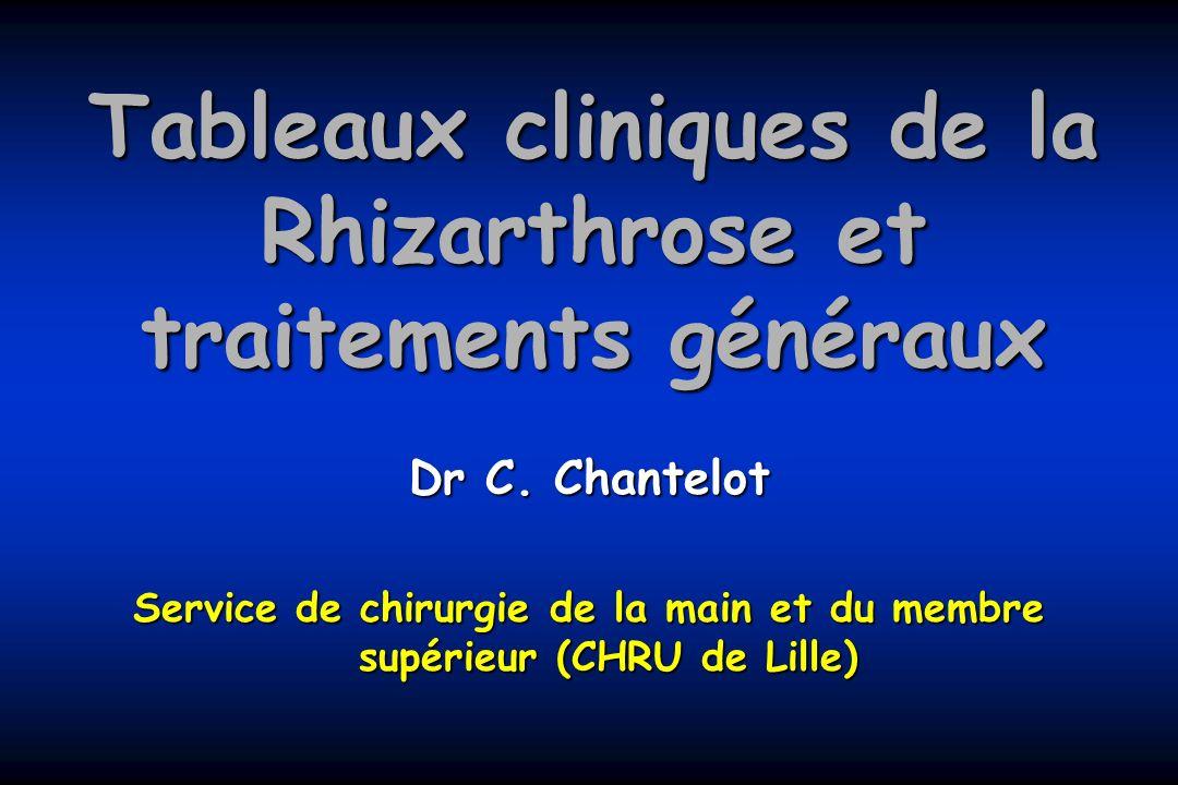 Tableaux cliniques de la Rhizarthrose et traitements généraux Dr C. Chantelot Service de chirurgie de la main et du membre supérieur (CHRU de Lille)