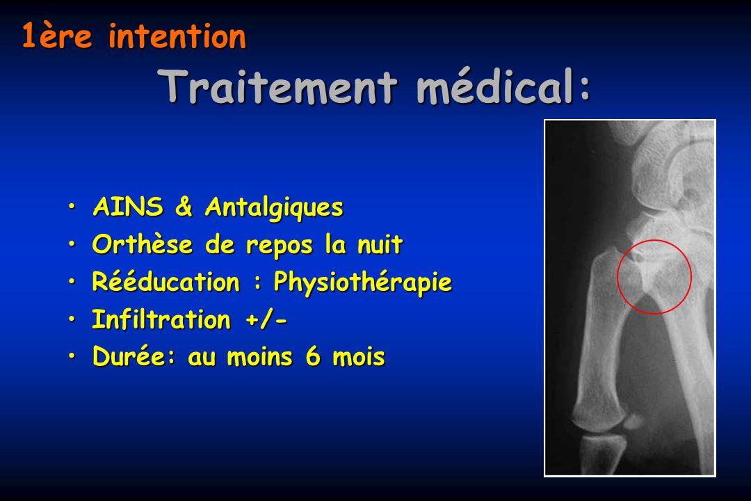 Traitement médical: AINS & AntalgiquesAINS & Antalgiques Orthèse de repos la nuitOrthèse de repos la nuit Rééducation : PhysiothérapieRééducation : Ph