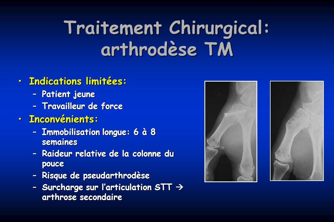 Traitement Chirurgical: arthrodèse TM Indications limitées:Indications limitées: –Patient jeune –Travailleur de force Inconvénients:Inconvénients: –Im