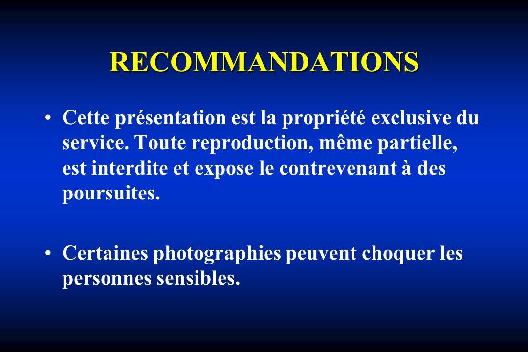 RECOMMANDATIONS Cette présentation est la propriété exclusive du service. Toute reproduction, même partielle, est interdite et expose le contrevenant
