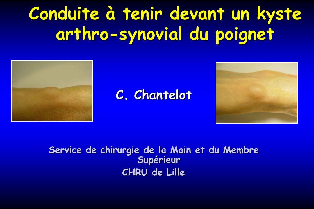 Conduite à tenir devant un kyste arthro-synovial du poignet C. Chantelot Service de chirurgie de la Main et du Membre Supérieur CHRU de Lille