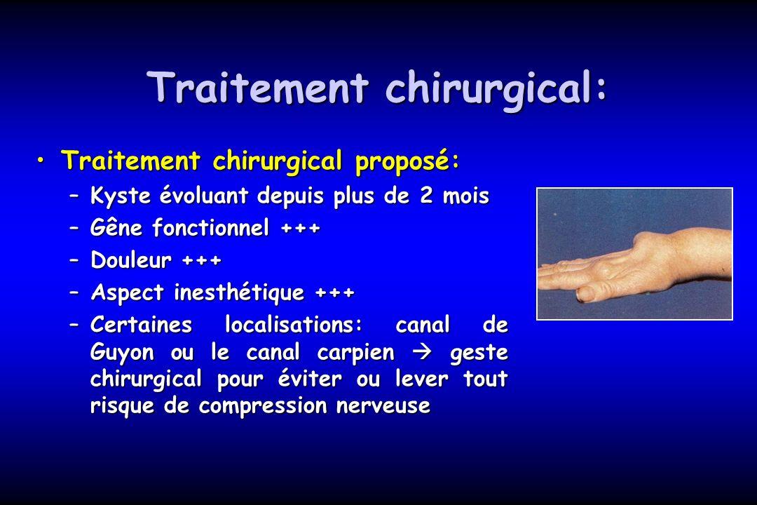 Traitement chirurgical: Traitement chirurgical proposé:Traitement chirurgical proposé: –Kyste évoluant depuis plus de 2 mois –Gêne fonctionnel +++ –Do