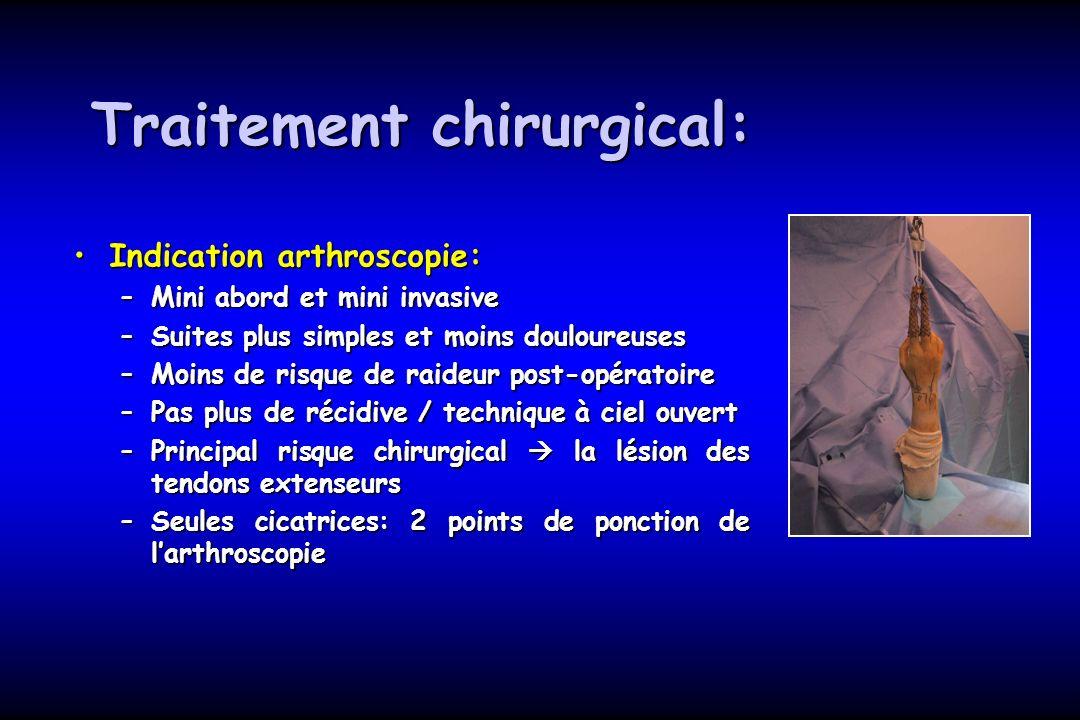 Traitement chirurgical: Indication arthroscopie:Indication arthroscopie: –Mini abord et mini invasive –Suites plus simples et moins douloureuses –Moin