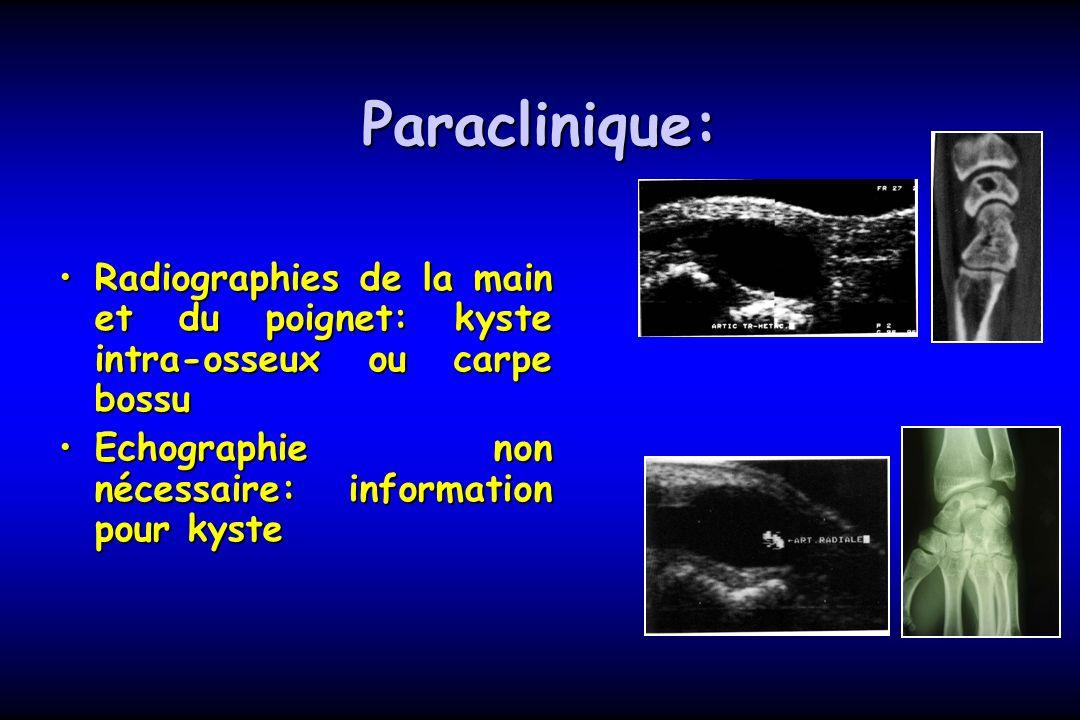 Paraclinique: Radiographies de la main et du poignet: kyste intra-osseux ou carpe bossuRadiographies de la main et du poignet: kyste intra-osseux ou c