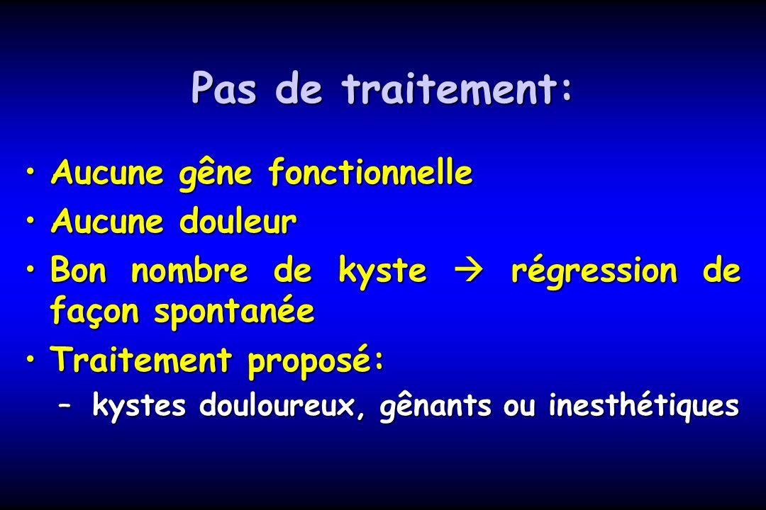 Pas de traitement: Aucune gêne fonctionnelleAucune gêne fonctionnelle Aucune douleurAucune douleur Bon nombre de kyste régression de façon spontanéeBo