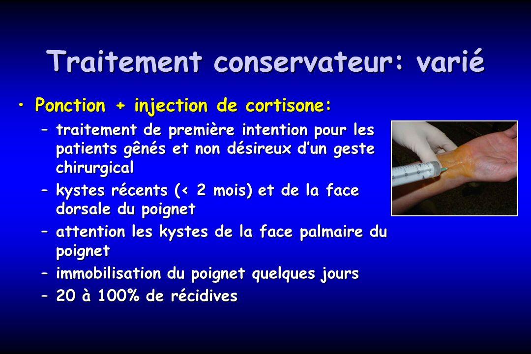 Traitement conservateur: varié Ponction + injection de cortisone:Ponction + injection de cortisone: –traitement de première intention pour les patient