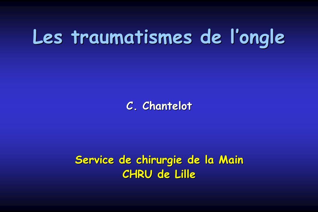 Les traumatismes de longle C. Chantelot Service de chirurgie de la Main CHRU de Lille