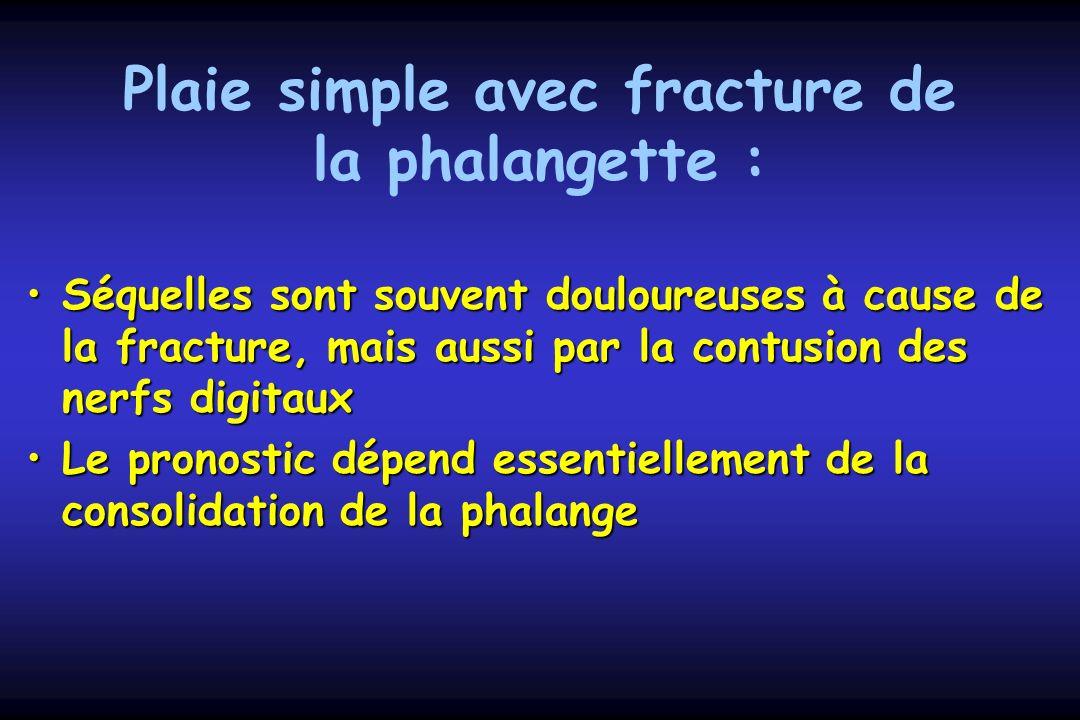 Plaie simple avec fracture de la phalangette : Séquelles sont souvent douloureuses à cause de la fracture, mais aussi par la contusion des nerfs digit