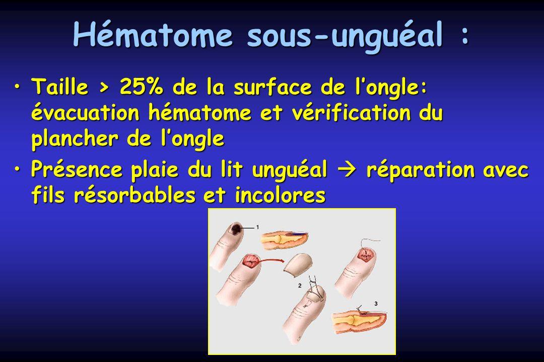 Hématome sous-unguéal : Taille > 25% de la surface de longle: évacuation hématome et vérification du plancher de longleTaille > 25% de la surface de l