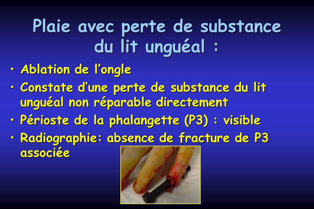 Plaie avec perte de substance du lit unguéal : Ablation de longleAblation de longle Constate dune perte de substance du lit unguéal non réparable dire