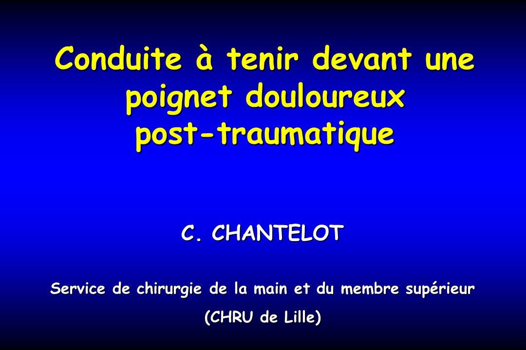 Conduite à tenir devant une poignet douloureux post-traumatique C. CHANTELOT Service de chirurgie de la main et du membre supérieur (CHRU de Lille)