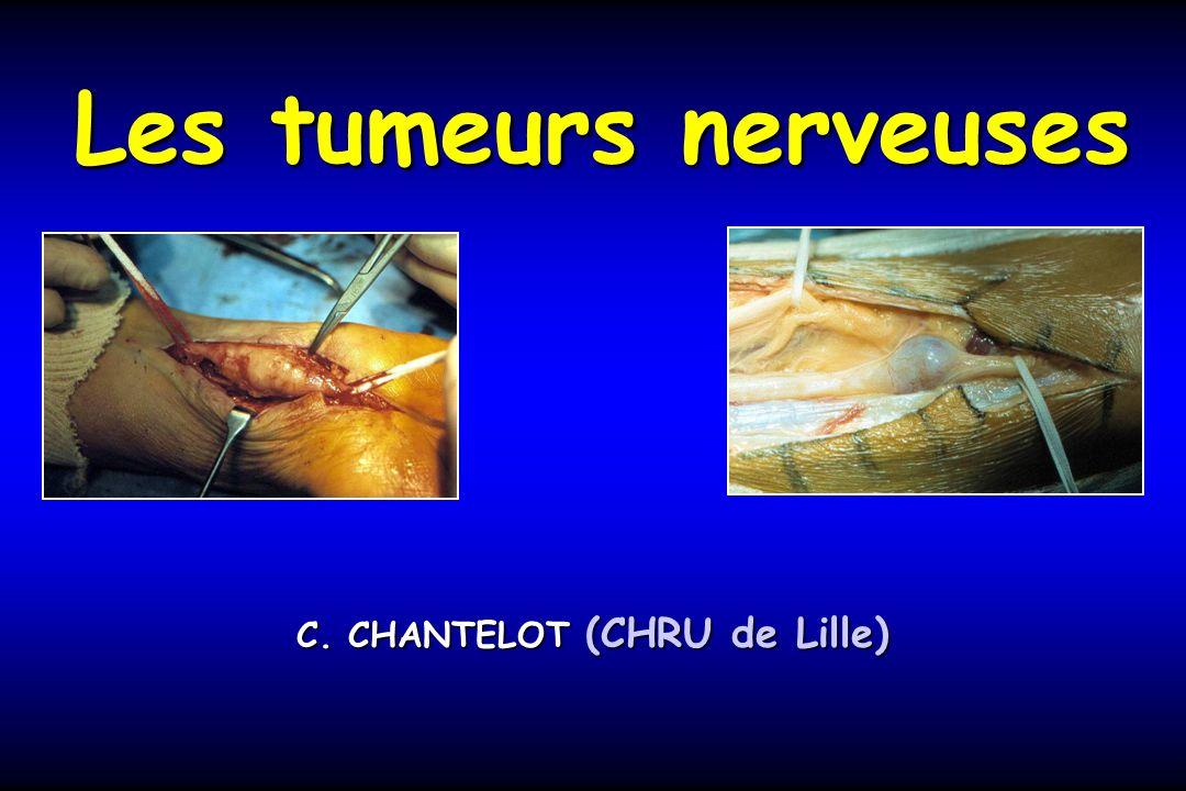 Tumeurs bénignes: Schwannome dans 80% des casSchwannome dans 80% des cas Clinique:Clinique: –Tuméfaction dapparition fortuite –Déficits sensitivomoteurs dans les défilés anatomiques