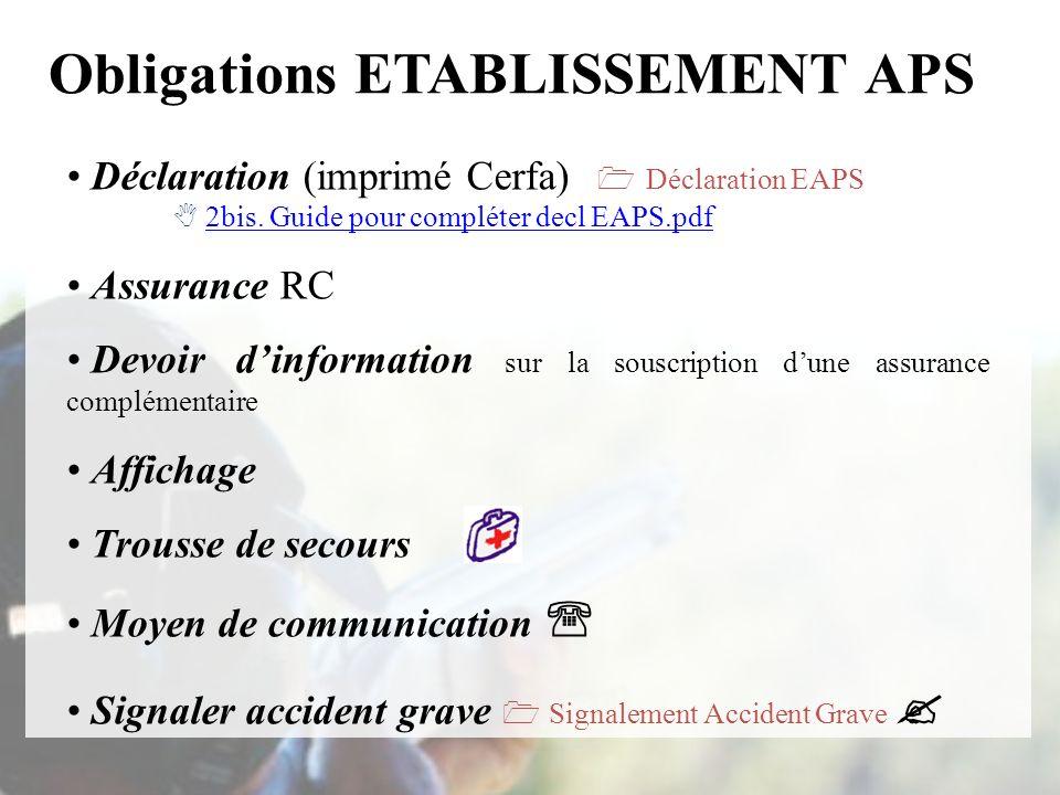 Obligations ETABLISSEMENT APS Déclaration (imprimé Cerfa) Déclaration EAPS 2bis. Guide pour compléter decl EAPS.pdf2bis. Guide pour compléter decl EAP