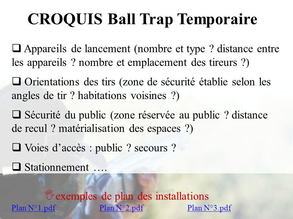 CROQUIS Ball Trap Temporaire Appareils de lancement (nombre et type ? distance entre les appareils ? nombre et emplacement des tireurs ?) Appareils de