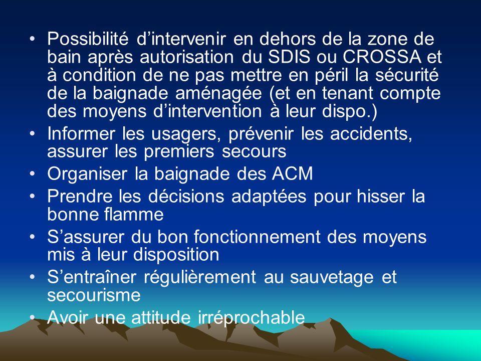 Possibilité dintervenir en dehors de la zone de bain après autorisation du SDIS ou CROSSA et à condition de ne pas mettre en péril la sécurité de la b