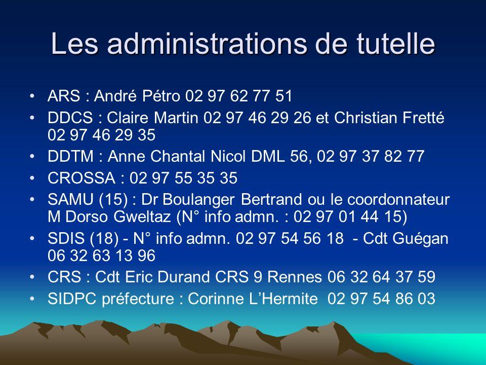Les administrations de tutelle ARS : André Pétro 02 97 62 77 51 DDCS : Claire Martin 02 97 46 29 26 et Christian Fretté 02 97 46 29 35 DDTM : Anne Cha