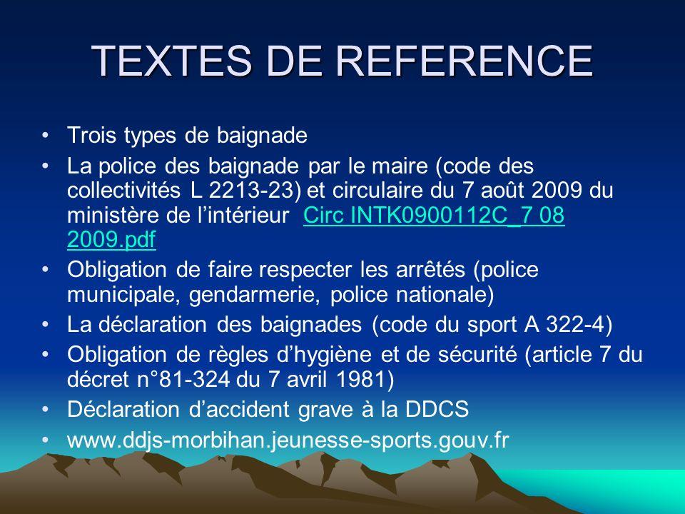 TEXTES DE REFERENCE Trois types de baignade La police des baignade par le maire (code des collectivités L 2213-23) et circulaire du 7 août 2009 du min