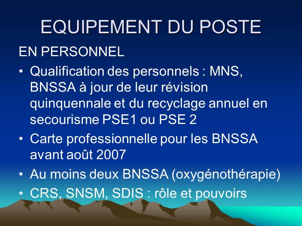 EQUIPEMENT DU POSTE EN PERSONNEL Qualification des personnels : MNS, BNSSA à jour de leur révision quinquennale et du recyclage annuel en secourisme P