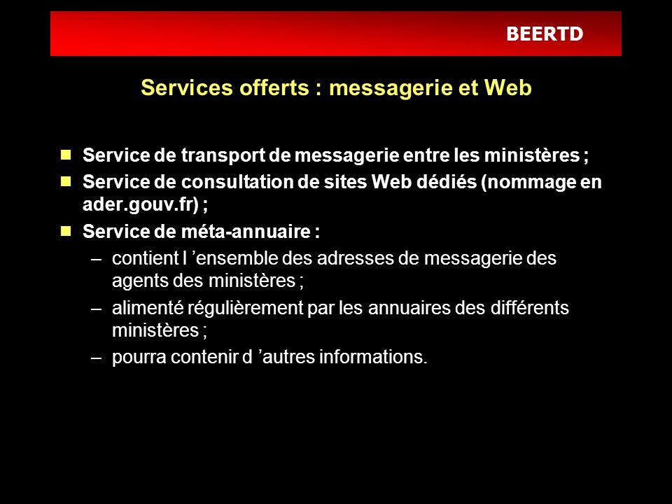 BEERTD Services offerts : messagerie et Web Service de transport de messagerie entre les ministères ; Service de consultation de sites Web dédiés (nom