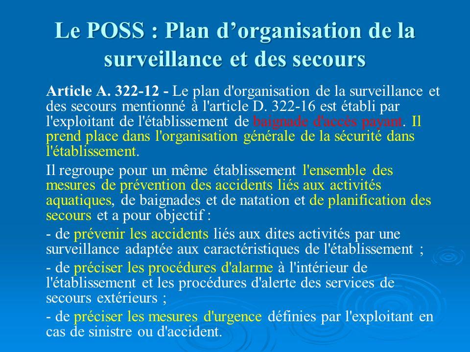 Le POSS : Plan dorganisation de la surveillance et des secours Article A. 322-12 - Le plan d'organisation de la surveillance et des secours mentionné