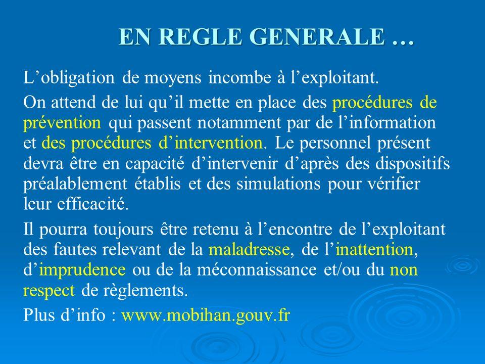 EN REGLE GENERALE … Lobligation de moyens incombe à lexploitant. On attend de lui quil mette en place des procédures de prévention qui passent notamme