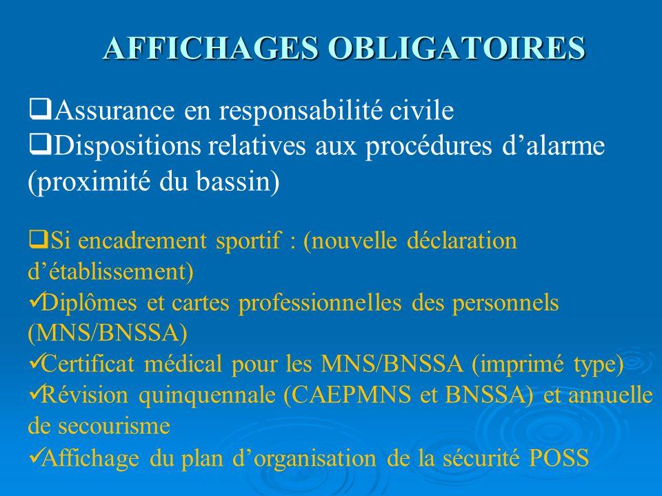 AFFICHAGES OBLIGATOIRES Assurance en responsabilité civile Dispositions relatives aux procédures dalarme (proximité du bassin) Si encadrement sportif