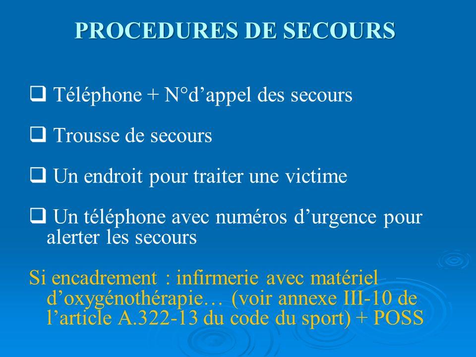 PROCEDURES DE SECOURS Téléphone + N°dappel des secours Trousse de secours Un endroit pour traiter une victime Un téléphone avec numéros durgence pour