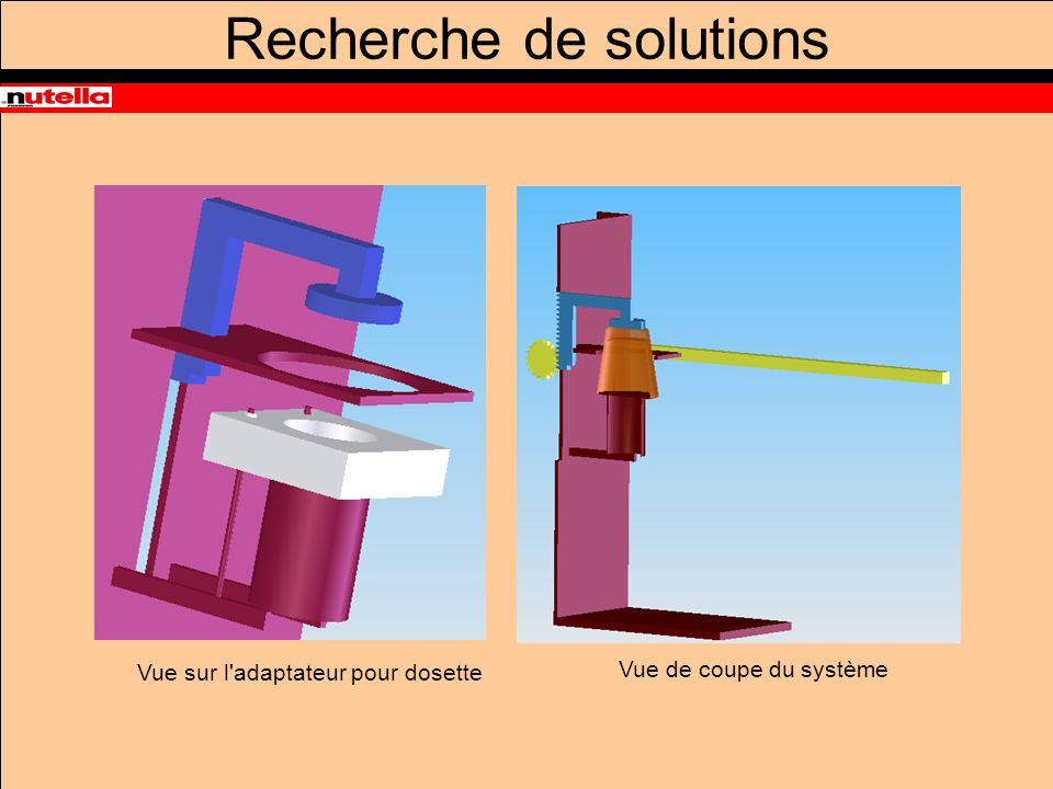 Vue sur l adaptateur pour dosette Vue de coupe du système Recherche de solutions