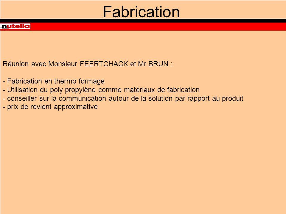 Fabrication Réunion avec Monsieur FEERTCHACK et Mr BRUN : - Fabrication en thermo formage - Utilisation du poly propylène comme matériaux de fabrication - conseiller sur la communication autour de la solution par rapport au produit - prix de revient approximative
