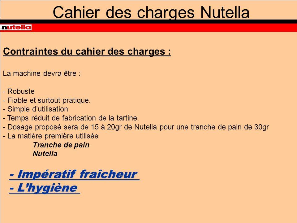 Cahier des charges Nutella Contraintes du cahier des charges : La machine devra être : - Robuste - Fiable et surtout pratique.