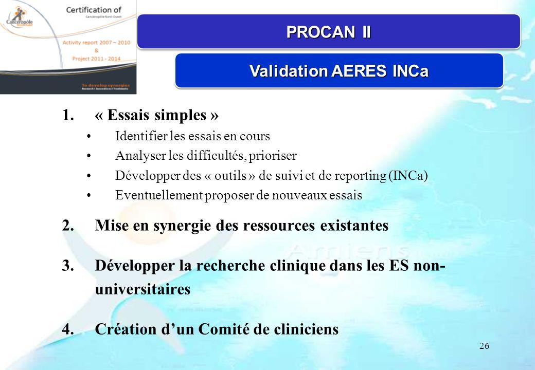26 1.« Essais simples » Identifier les essais en cours Analyser les difficultés, prioriser Développer des « outils » de suivi et de reporting (INCa) E