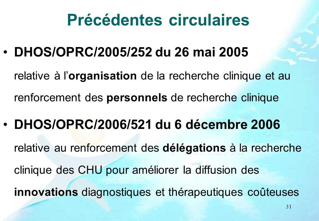 31 Précédentes circulaires DHOS/OPRC/2005/252 du 26 mai 2005 relative à lorganisation de la recherche clinique et au renforcement des personnels de re