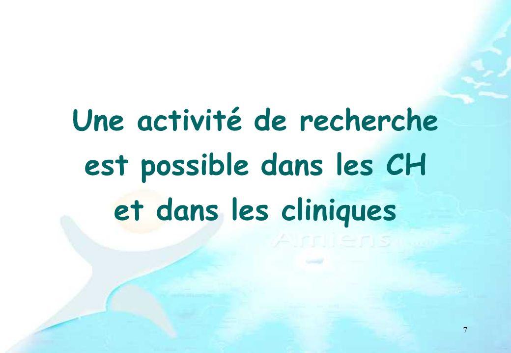 7 Une activité de recherche est possible dans les CH et dans les cliniques