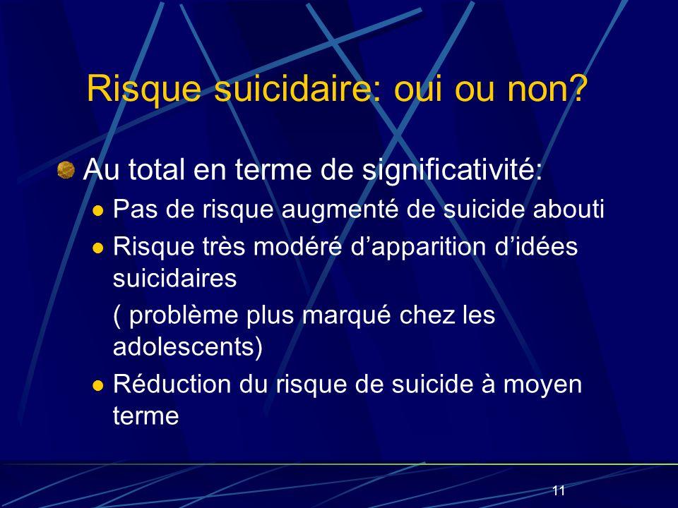 11 Risque suicidaire: oui ou non.