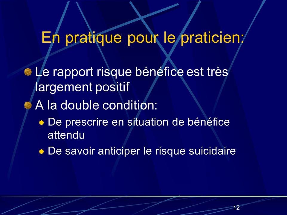 12 En pratique pour le praticien: Le rapport risque bénéfice est très largement positif A la double condition: De prescrire en situation de bénéfice attendu De savoir anticiper le risque suicidaire
